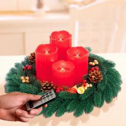 Adventskranz mit LED-Echtwachskerzen, rot