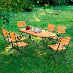 TEAK-Sitzgruppe Chelsea (1 Tisch, 6 Stühle)
