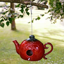 Keramik-Vogelhaus Teekanne