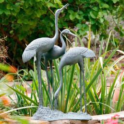 Garten-Skulptur Kranichfamilie