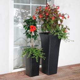 Outdoor-Rattan-Pflanzsäulen, 2er Set mit Zubehör