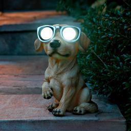 Gartenfigur Hund mit Solarlicht Klein-Waldi