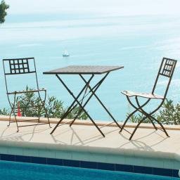 Sitzgruppe Casablanca, 1 Quadrat-Tisch + 2 Stühle