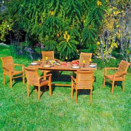 TEAK-Sitzgruppe Winston (6 Stühle Bali & Tisch)