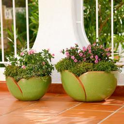 Pflanzschalen Tulipa verde, 2er-Set