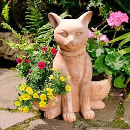Terracotta-Pflanzgefäß Katze Julchen