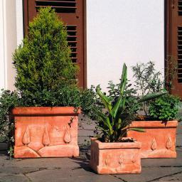 Terracotta-Töpfe Toskana, 3er-Set, quadratisch
