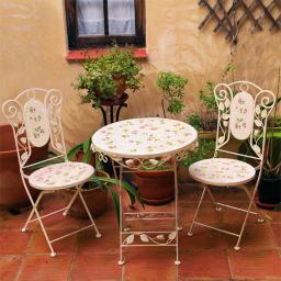 Mosaik-Sitzgruppe Garten-Idylle,2 Stühle & 1 Tisch
