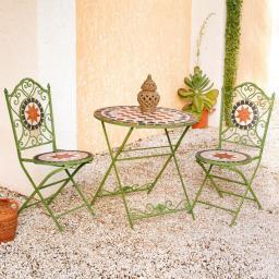 Mosaik-Sitzgruppe Roma antica, 2 Stühle & 1 Tisch