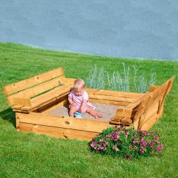 Sitzbank-Sandkasten 120 x 120 cm
