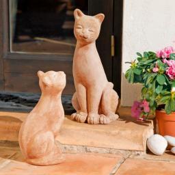 Terracotta-Katzen Pussy & Cat, 2er-Set