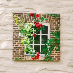 Gartengemälde Rosenfenster 60x60cm