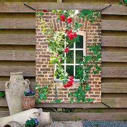 Gartenposter Rosenfenster 90x130cm