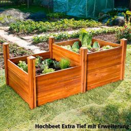 Hochbeet Extra Tief, Akazienholz, natur, 91x91x60 cm