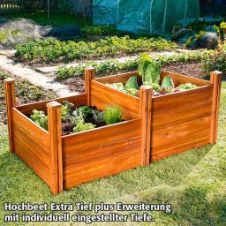 Hochbeet Extra Tief - Erweiterung, Akazienholz, natur, 91x91x40 cm
