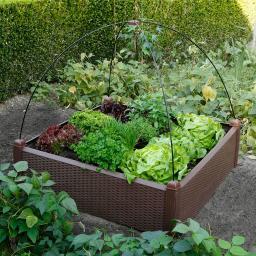 Gartenhochbeet, Kunststoff, braun, 99,5x99,5x30 cm