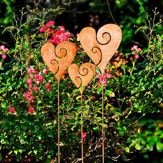 Gartenstecker Herzen, 3er-Set
