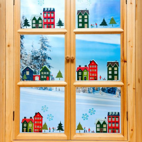 Fenster sticker winterdorf online kaufen bei g rtner p tschke - Fenster weihnachtsdeko ...