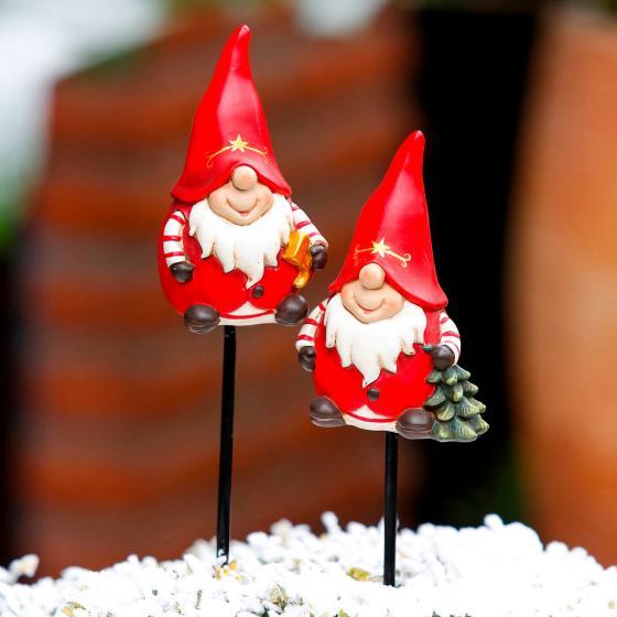 Gartenstecker Weihnachtswichtel Pepe & Pepino, 2er-Set