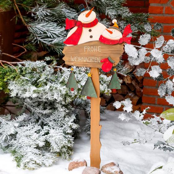 Gartenstecker Schneemann-Spaß