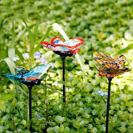 Gartendekoration Glasstecker Schmetterlinge