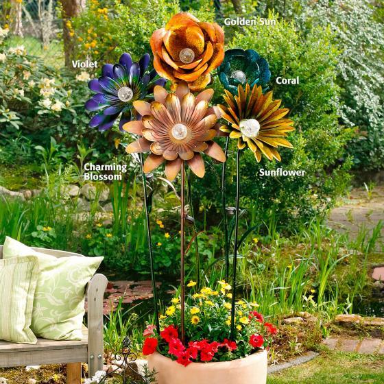 Solarblume XXL Golden Sun Gartenstecker