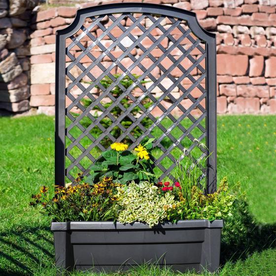 Pflanzkasten inkl. Bewässerungssystem und Spalier, anthrazit