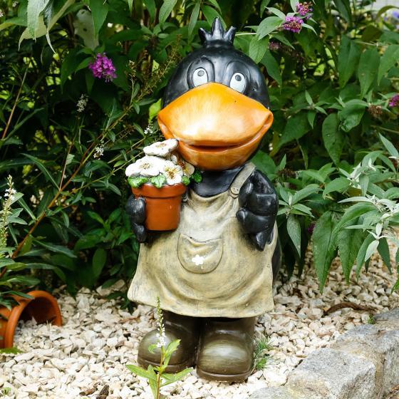 Deko-Ente Hilde mit Blumentopf