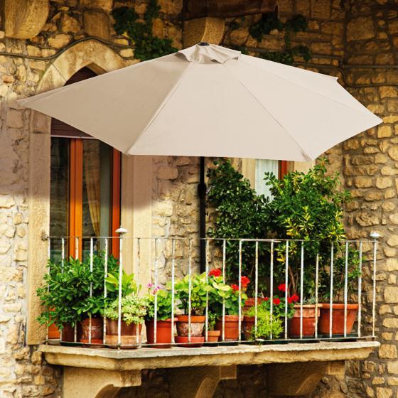 Balkon-Sonnenschirm, halbrund, beige