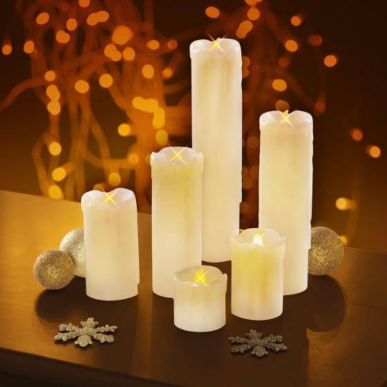 LED-Echtwachskerzen Candle Light, 6er-Set