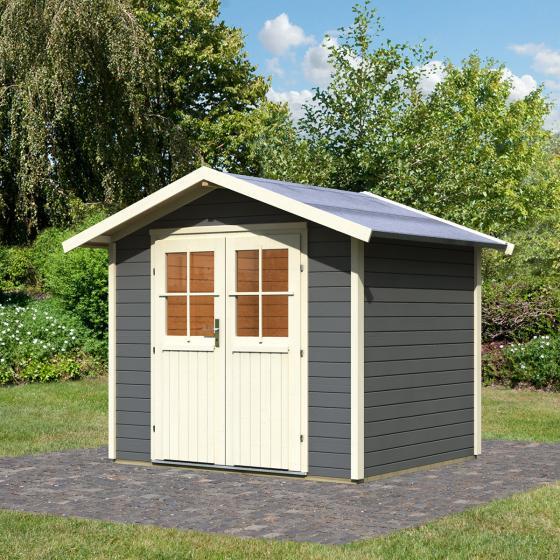 KARIBU Gartenhaus Bornholm, 28 mm, grau