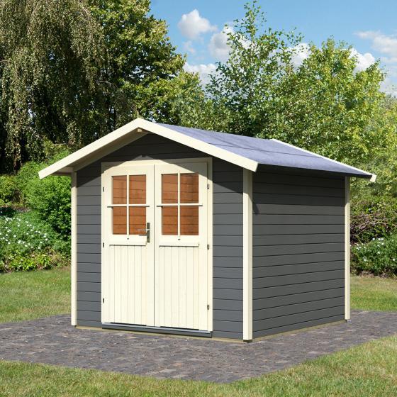 KARIBU Gartenhaus Usedom, 28 mm, grau