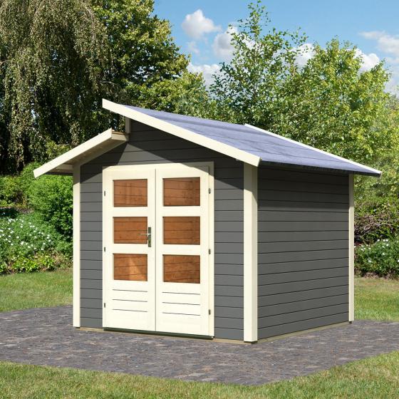 KARIBU Gartenhaus Grönelo, grau, 28 mm