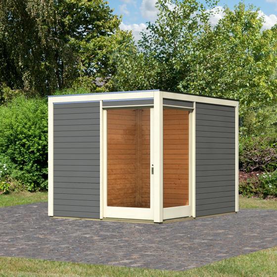 KARIBU Gartenhaus Cubus Eck 1, terragrau, 19 mm