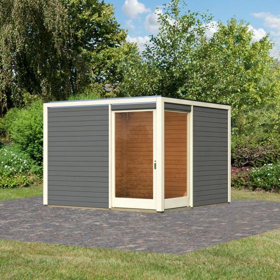Gartenhaus Cubus Eck 2, 28 mm, grau