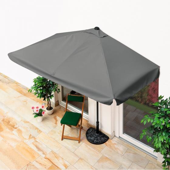 Balkon-Sonnenschirm, rechteckig grau