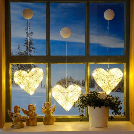 LED-Fensterdeko Winterherz, 3er-Set