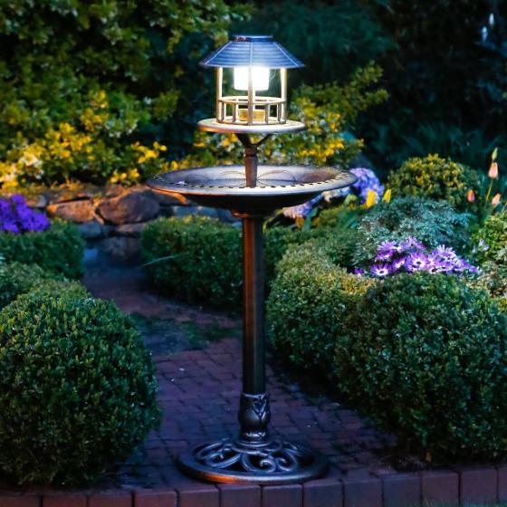 Vogelbad Vögeli mit Solar-LED-Beleuchtung