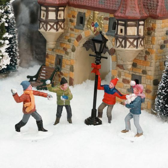 Miniatur-Winterfiguren Schneeballschlacht, 4er-Set