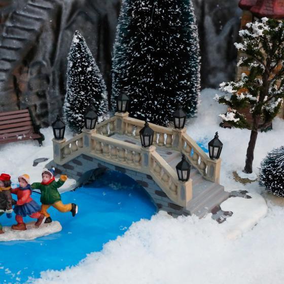 Miniatur-Weihnachtsdorf-LED-Steinbrücke