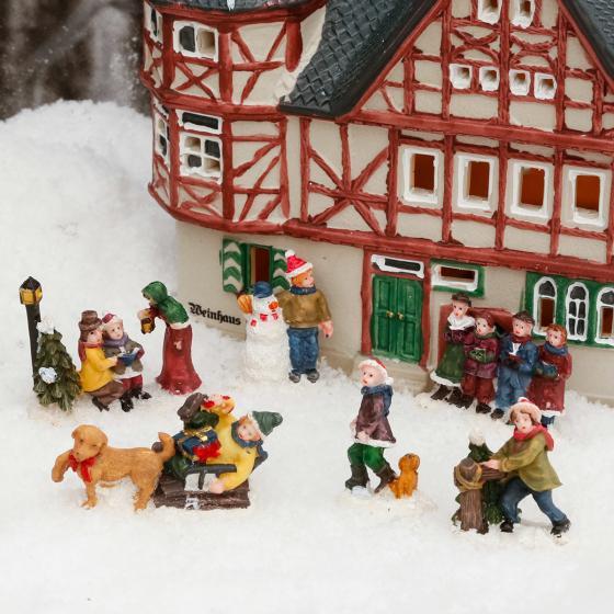 Miniatur-Winterfiguren Buntes Treiben, 6er-Set