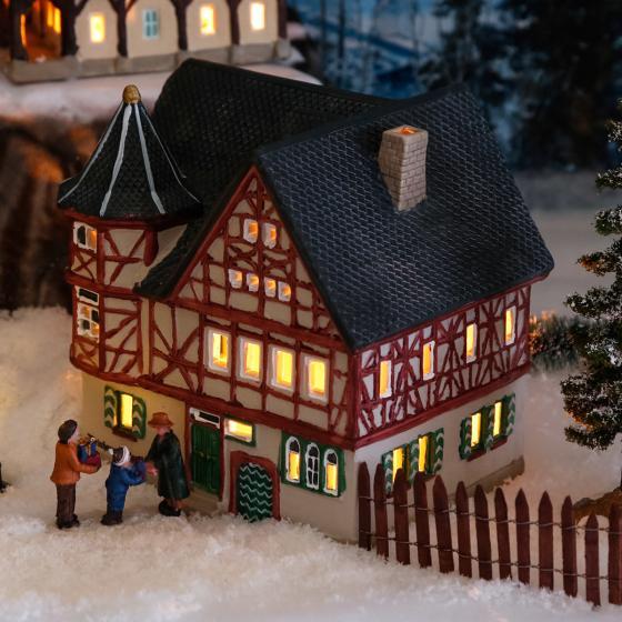 Miniatur-Weihnachtsdorf-Lichthaus Altes Weinhaus in Bacharach