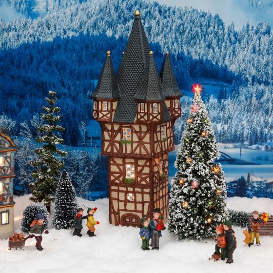 Miniatur-Weihnachtsdorf -Lichthaus Bromser-Turm in Rüdesheim