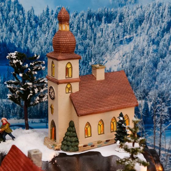 Miniatur-Weihnachtsdorf Lichthaus Dorfkirche
