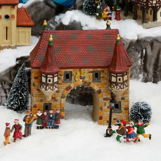 Miniatur-Weihnachtsdorf Stadttor