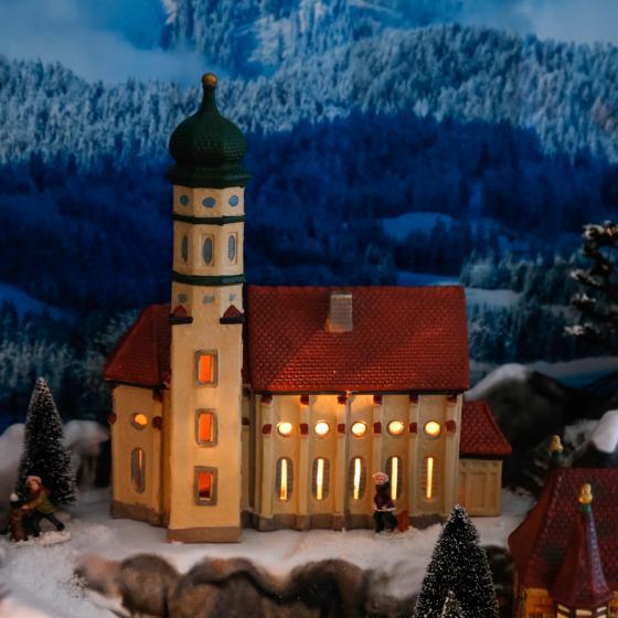 Miniatur-Lichthaus Kirche St. Colomer in Schwangau