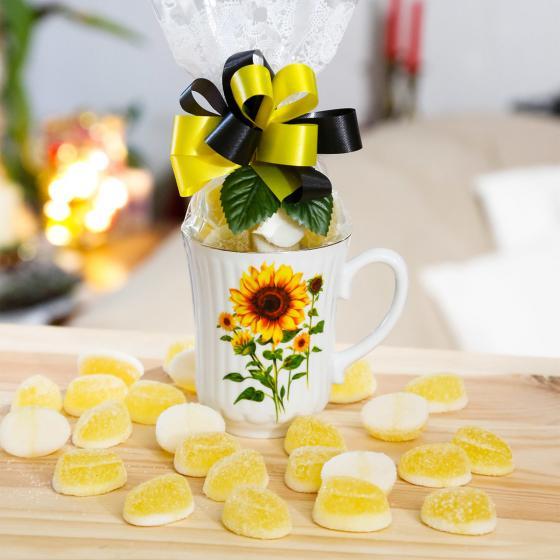 Geschenk-Tasse Sonnenblume mit 100g Mango-Gelee-Früchten mit Joghurtgeschmack