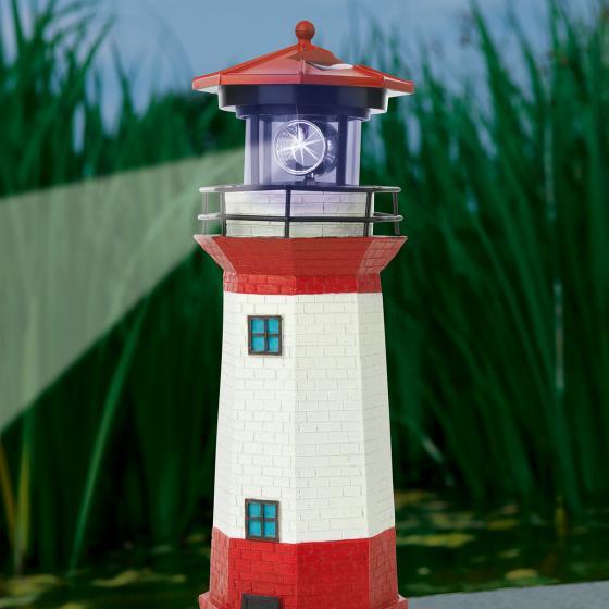 Solar-Leuchtturm rot-weiß