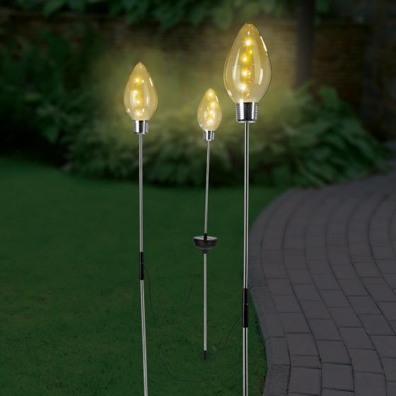 EASYmaxx Solar-Glühleuchte, 3er-Set