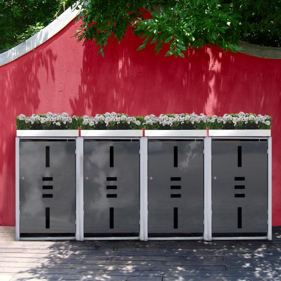 Mülltonnenbox, 4er mit Pflanzdach